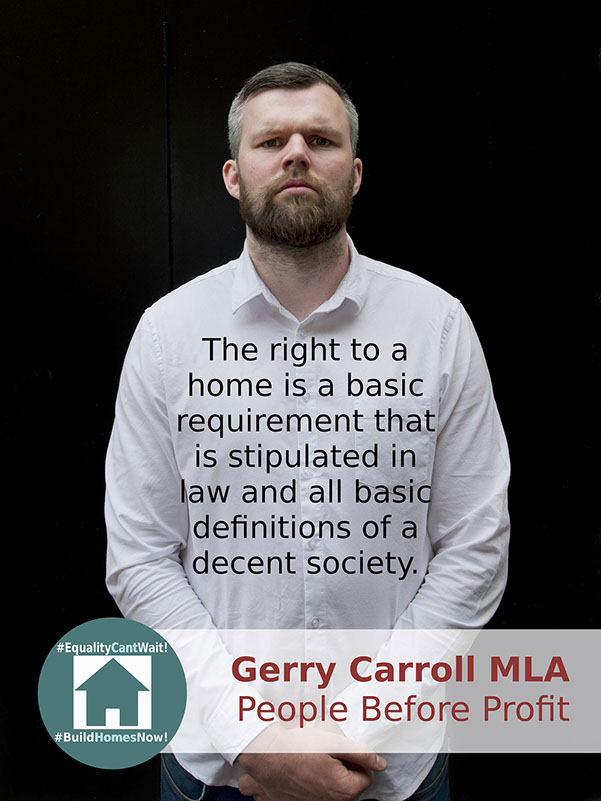 Campaign: Participation and the Practice of Rights (PPR), Belfast  Graphic Design: Dessie Donnelly, Plakat #EqualityCantWait #BuildHomesNow!